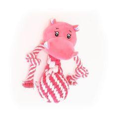 Canem plysjdyr med flettet tau og pip 20cm rosa