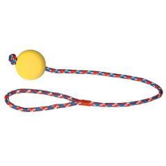 Hundeleke ball med tau 6x60 cm Gul