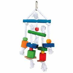 Fugleleke med tau og lær i farger